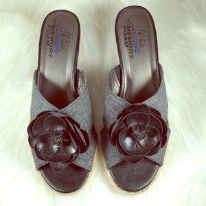 Lifestride Omega Black Wedge Heel Sandal Slides